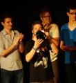 Siegesfeier beim Poetry Slam Erlangen im Juni 2015
