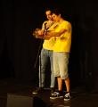Die Einweisung des Stoppuhrenmanns beim Poetry Slam Erlangen im Mai 2015