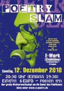 Poetry Slam Plakat Erlangen Dezember 2010